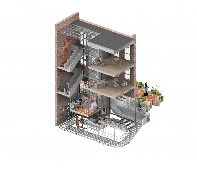 Cutaway view of a building from the back side, showing two levels with apartment furnishings, a ground-floor cafe with a counter and small round tables, and a basement workshop with a system of pipes and other machinery