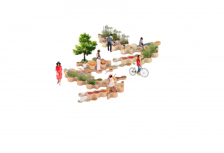 People and a dog sit, bike, walk, and play outdoors among wavy interlocking planters and benches