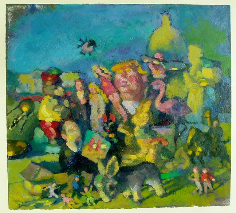 Impressionistic painting of figures in a green landscape in front of the US Capitol, with a pink-skinned couple in wedding garb attended by various people and animals including a pink flamingo, a donkey, and the enlarged figure of the 45th US president