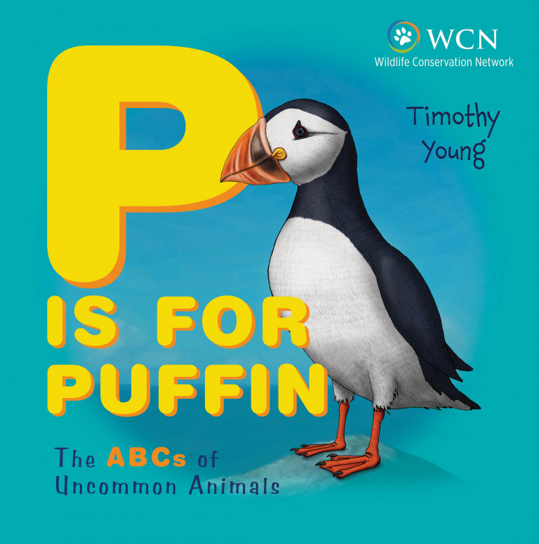 Cover of the book P is for Puffin, showing a detailed illustration of a smiling puffin against a sea-green background