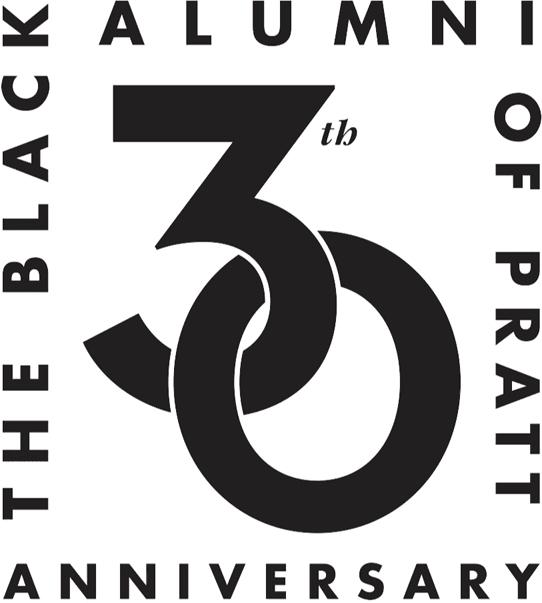 The Black Alumni of Pratt 30th Anniversary log in black letters on a white background.