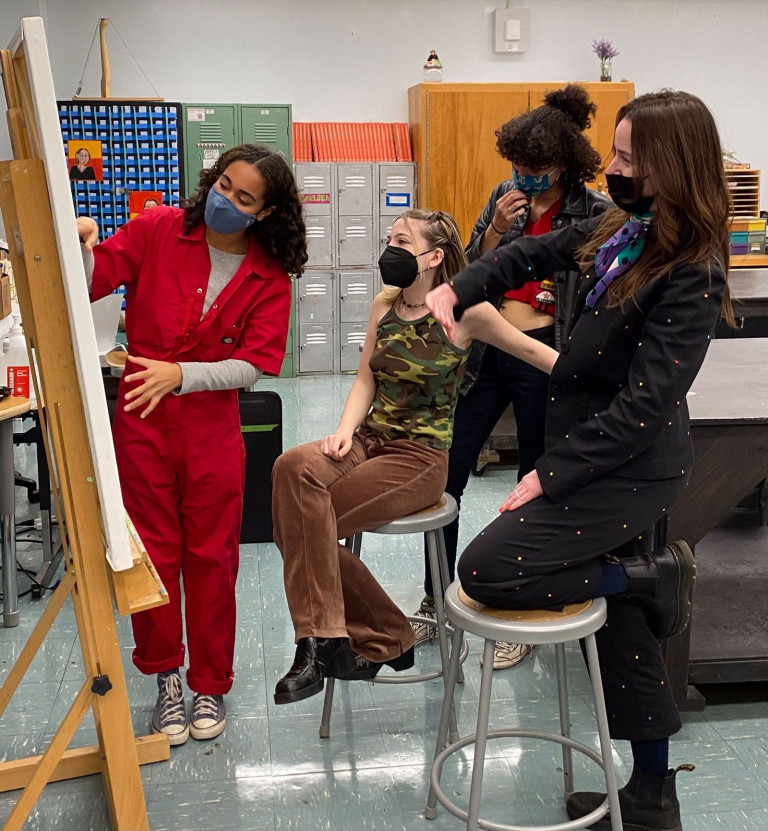 Sarah Grace Holcomb (far right) with her students at Edward R. Murrow High School in Brooklyn (courtesy Sarah Grace Holcomb)
