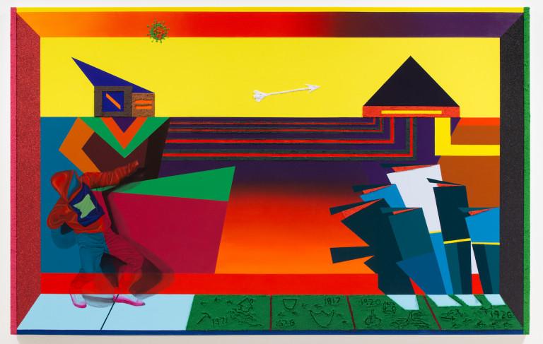 "Jamaal Peterman, ""Robin Hood"" (2020), oil paint, vinyl glitter, and sand on canvas, 60 x 95 inches"