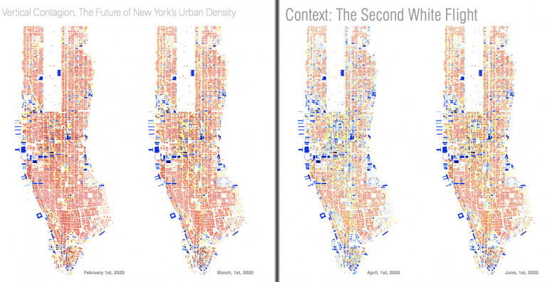 """Visualizations from """"Vertical Contagion, The Future of New York's Urban Density"""" by Chris Brown, BArch '21"""