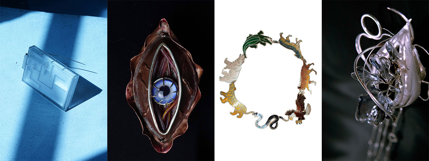 Work by Xiaoqing Rong, Cathy Zhang, Melissa Tu, and Angel Zhang, all BFA Jewelry '21