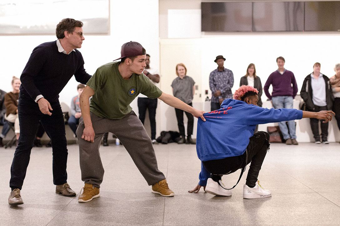Participants take part in Shaun Leonardo's Assembly Program workshop and performance at the Portland Museum of Art (PMA) in Portland, Maine, 2018. Photo courtesy of PMA.