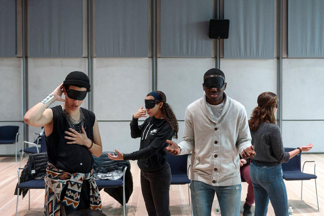 Shaun Leonardo's Testimony #2: Experiences of Stereotyping/Silencing, a workshop and performance at the Whitney Museum, for Whitney Teens: Youth Summit, 2018. Photo by Filip Wolak