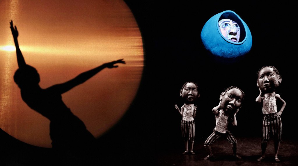 Shadow dancer with glowing circle resembling the sun, and dancers with puppet heads