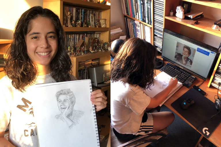 Adriana Gambini working on an illustration for PreCollege