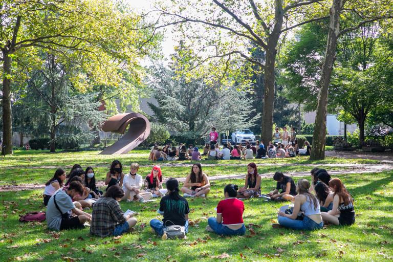 Orientation gathering on the Brooklyn campus (photo by Caroline Cramer, BFA '22)