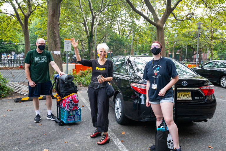 President Frances Bronet welcoming students for move-in on the Brooklyn campus (photo by Caroline Cramer, BFA '22)