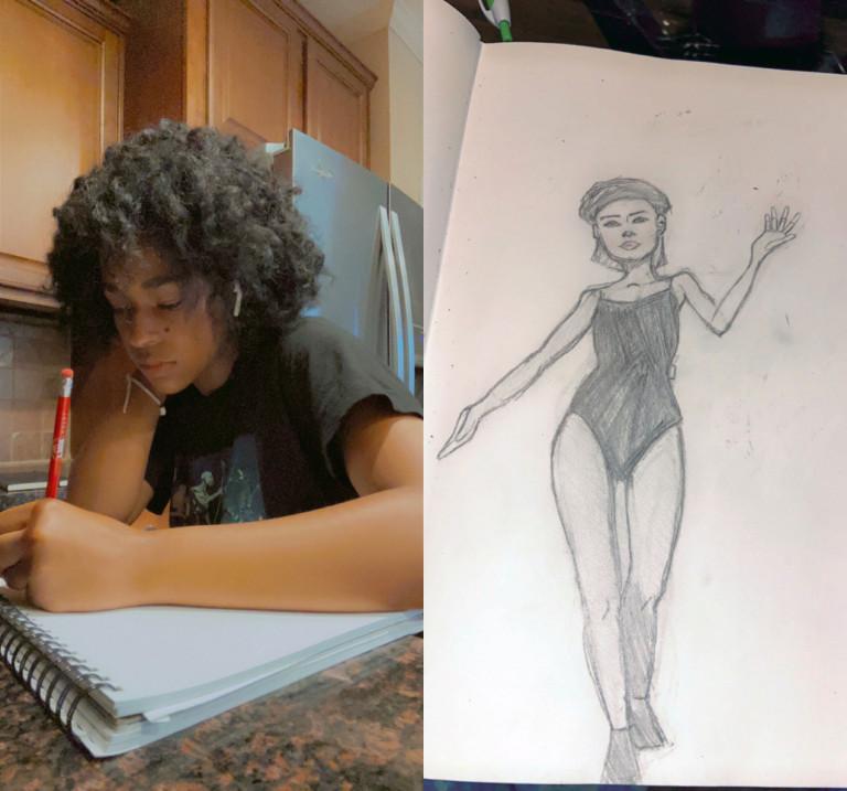 Jada Kiara Ducran and one of her illustrations