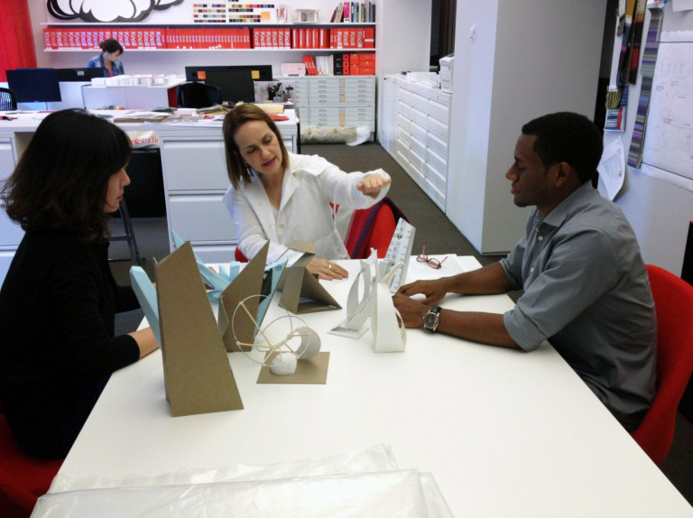 Karen Stone at Knoll working with students on the 2013 Pratt Legends award design