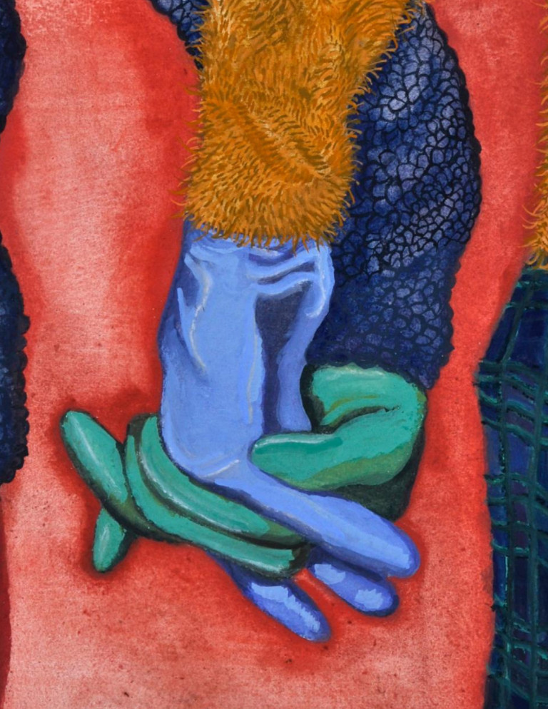 Painting of two gloved hands, one green and one blue, interlaced with one another