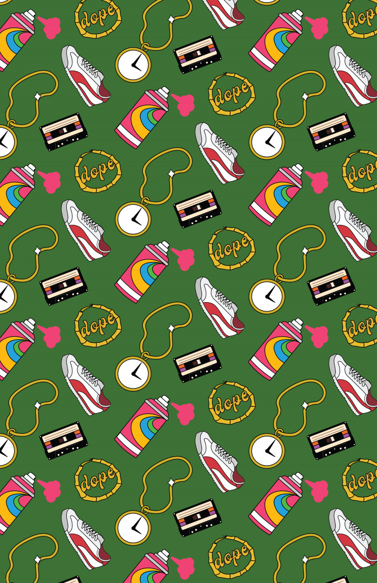 Repeating illustrations of sneakers, cassette tapes, gold hoops, and clock necklace on a green background