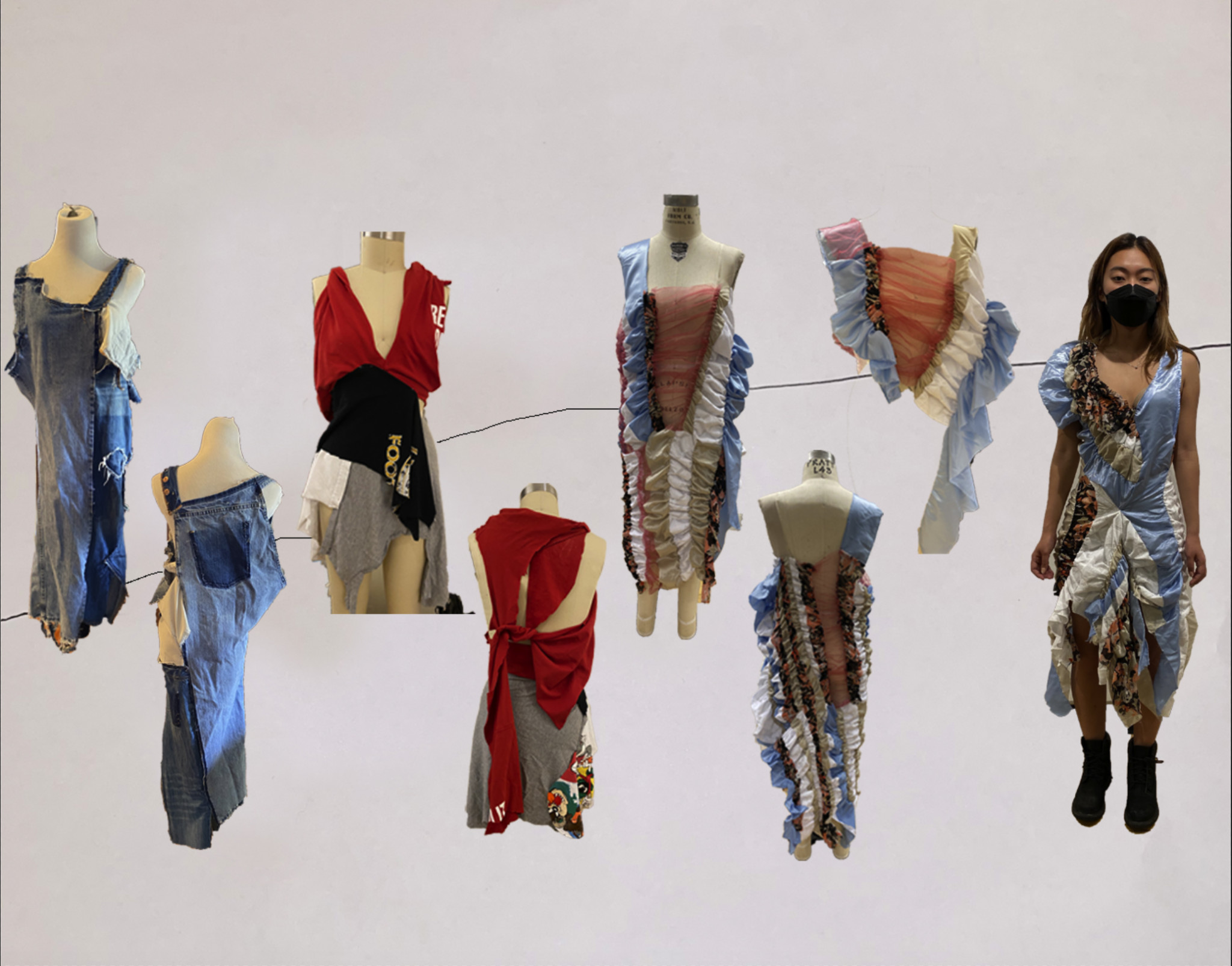 Garments at various stages of construction
