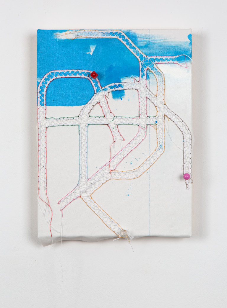 Map of a section of subway made of knotted thread