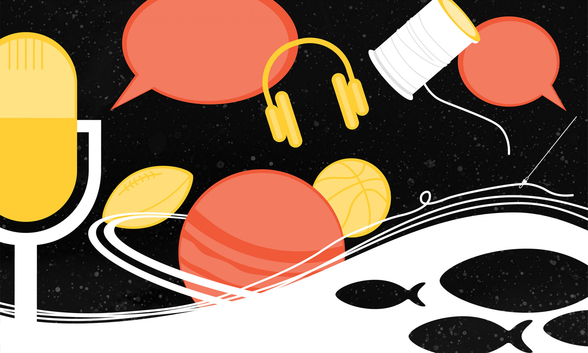 Illustration of a microphone, planets, and fish