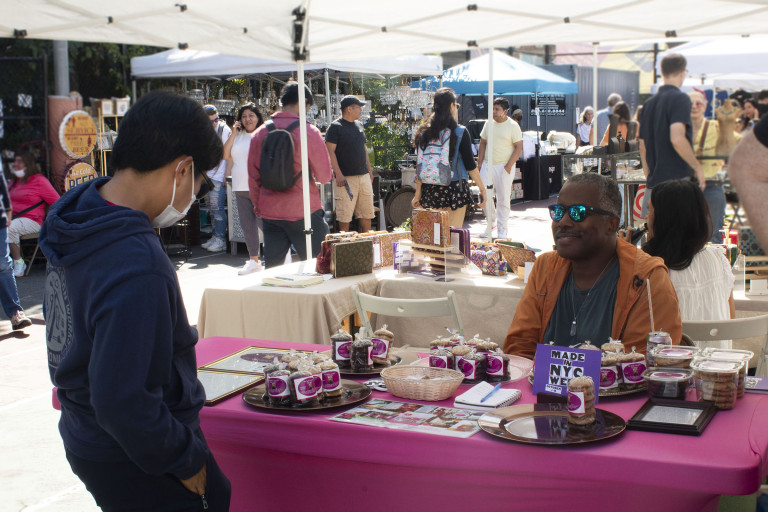 Made in NYC member Maurice Tyson of Miss Myrtle's Chocolate Chip Cookies at the Grand Bazaar for Made in NYC Week (courtesy Made in NYC/Arleth Pando)
