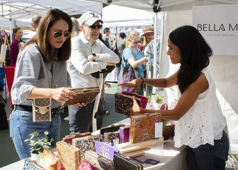 Made in NYC member Jigisha Patel of Bella Mews at the Grand Bazaar for Made in NYC Week (courtesy Made in NYC/Arleth Pando)